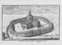 """Rotonda della Besana, via E. Besana, Milano. Marc'Antonio Dal Re, """"Vedute di Milano"""", incisione 1 (ca. 1745)."""