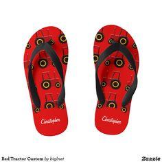 Red Tractor Custom Kid's Flip Flops