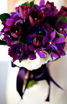Floral and Landscaping: Luscious wedding bouquet Purple Wedding Flowers, Wedding Colors, Wedding Bouquets, Purple Bouquets, Orchid Bouquet, Plum Flowers, Bouquet Flowers, Our Wedding, Dream Wedding