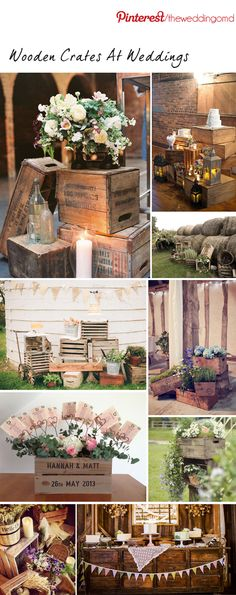 Old wooden crates as rustic wedding decor. This is a fabulous and popular way to give that vintage shabby chic feel to a rustic country or barn wedding. Rustic Chic, Country Chic, Rustic Theme, Rustic Decor, Rustic Wood, Rustic Farmhouse, Diy Wood, Deco Champetre, Outdoor Wedding Venues