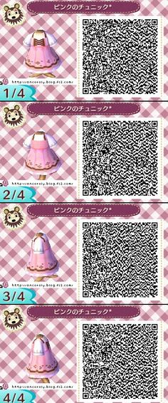 Animal Crossing New Leaf qr codes cute pink dress