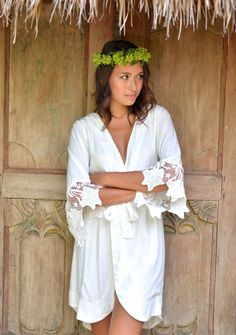 Hey, I found this really awesome Etsy listing at https://www.etsy.com/listing/237719995/sylvie-lace-sleeve-bridal-robe-ivory