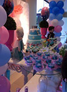 Festa frozen azul com rosa