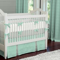 Mint Herringbone Crib Bedding | Carousel Designs.  Sweet and simple, our Mint Herringbone collection is the perfect addition to your nursery. Accented with Cloud Gray this contemporary Herringbone will make decorating a breeze.