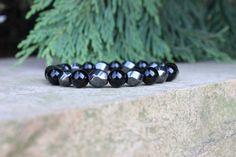 Men's Onyx & Hematite Bracelet / matte polished by BeauBishop, $24.00