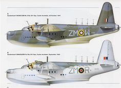 Top - Sunderland II W3981/ZM-W - 28 October 1941 - - - Bottom - Sunderland II W6055/ZM-R - September 1942  -  both of 201 Squadron, Castle Archdale, Northern Ireland