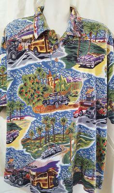 302032a128b Reyn Spooner Shirt Sz XXL Classic Cars Hot Rods Vintage Truck Polo Short  Sleeves