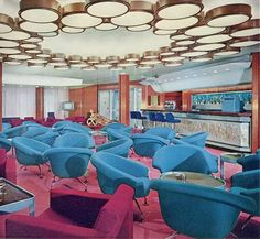 Cabin Class Bar, Michelangelo  Decor matches the ballroom. Mid 1960s