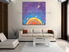 Elegant designed 1-panel giclee print on artist canvas with fairy in modern style. It is available in numerous sizes to fit any size room!