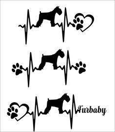 SVG Cut File Miniature Schnauzer short tail - Heartbeat paw with heart - Scrapbook, Tshirt Tote Silhouette PDF, Dxf, PNG, Studio 3 by TheLazyIdesigns on Etsy