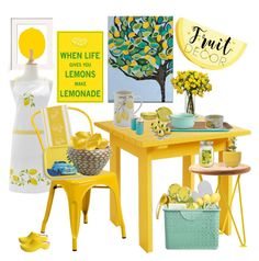 """Lemon Tart Kitchen"" by rachael-aislynn ❤ liked on Polyvore featuring interior, interiors, interior design, home, home decor, interior decorating, Jollys, Cost Plus World Market, Sur La Table and Flash Furniture"