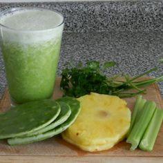 Jugo Verde   2 C pineapple,  1/2 C parsley,  1 rib celery,  2 leaves cactus
