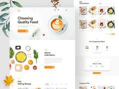 Cafe Bistro- Restaurant landing page by Ofspace Team on Dribbble Food Web Design, Web Design Mobile, Design Ios, Flat Design, Dessert Restaurant, Bistro Restaurant, Modern Restaurant, Landing Page Inspiration, Website Design Inspiration