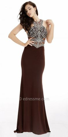Be a lovely dream at your next event in this Grecian Embellished Illusion Column Evening Dress by Jasz Couture. This sultry dress includes a Grecian neckline with illusion insets, a sporty racer back with a center zipper, and glistening rhinestone embellishments. The skirt features a column silhouette with a sweep train perfect for a graceful and poised appearance. #edressme