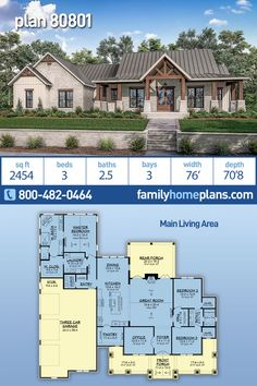 Texas Farmhouse Home Plan is 2454 Sq Ft, 3 Bedrooms, Bathrooms and 3 Car Garage - Modern Farmhouse Plans and Country Living Designs - Sophisticated Texas farmhouse with an open floor plan, kitchen, dining and great room. Great Room a - Texas Farmhouse, Modern Farmhouse Plans, Farmhouse Homes, New House Plans, Dream House Plans, Dream Houses, Texas House Plans, Large House Plans, Design Home Plans