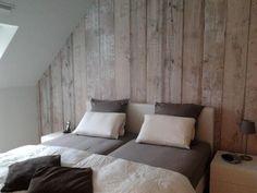 bedroom decorated with Scrapwood Wallpaper by @Piet Hein Eek