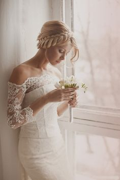 Pretty bridal gown, off the shoulder with lace.
