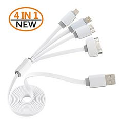 Introducing USB Charging Cable Multi USB Charging Cable Adapter 4 in 1 Multi USB Charger for Iphone 4 4s 5 5s 5c 6 6s Plus iPad 2 3 4Galaxy S5 S6HtcLG G3 G43 FeetGray. Great product and follow us for more updates!