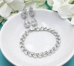 Bridal Earrings Set Wedding Earrings and Bracelet Silver