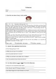 English worksheet: Test on the simple prest