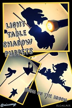 Using shadow puppets on the Light Table to retell the story of Room on the Broom. Room On The Broom, Shadow Puppets, Retelling, School Fun, Light Table, October, Classroom, Night, Halloween