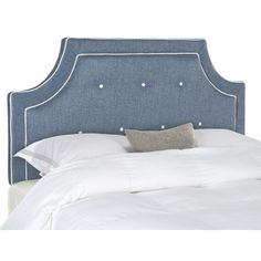 A classic traditional look, this dramatic denim blue queen headboard with notched corners imbues a bedroom with high-end designer style. Richly upholstered in a blended texture, this striking headboard boasts white covered buttons and a double row of piping.