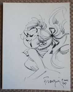 André Franquin- Tekening - Juffrouw Jannie uit Guust Flater - (1975)