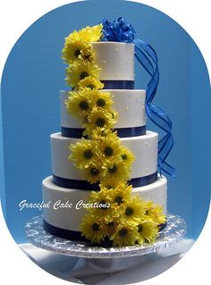 White, Navy Blue and Yellow Wedding Cake by Graceful Cake Creations, via Flickr