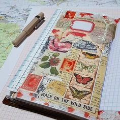 Notebook with stamps Nature Journal, Art Journal Pages, Altered Books, Fabric Journals, Art Journals, Glue Book, Mixed Media Journal, Collage Vintage