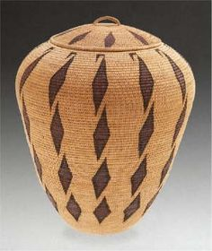 "Washoe polychrome coiled jar with lid, no. 62, Louisa Keyser (Dat-so-la-lee), circa 1918: woven of willow, redbud, and bracken fern root, decorated with columns of diamond motifs, the uppermost ""hooked"" beneath the rim, surmounted by a fitted lid, similarly decorated, with loop handle, old tag affixed to the base, inscribed LK #62, May 20th, 1918,"