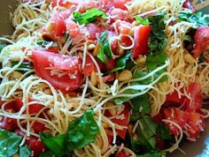 Angel Hair Pasta Salad. When a salad starts with pasta covered in garlic oil & ends topped with tomatoes, torn basil, and pine nuts... Im in.
