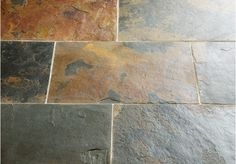 A great floor choice for an older property, the Rustic Multicolour Slate has been left uncalibrated to leave a textured, riven surface. The greeny grey to charcoal grey background is warmed by the copper and red tones throughout the stone.