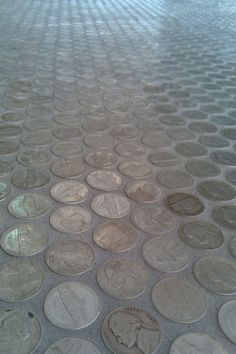 Our bathroom floor: Nickel Tile Floor! A DIY Bathroom Renovation Penny Tile Floors, Bathroom Floor Tiles, Penny Boden, Diy Art, Beton Diy, Decoration Inspiration, Everyday Objects, Tile Design, Home Projects