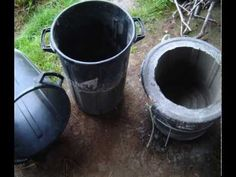 How to use broken buckets to make large sized cement flower pots. Great way to create pots the size you want them and then paint them together/ with kids.