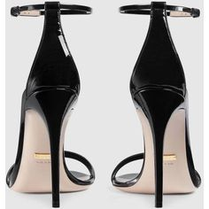 Gucci Patent Leather Sandal (12,655 MXN) ❤ liked on Polyvore featuring shoes, sandals, black shoes, black patent leather shoes, patent leather sandals, ankle strap heel sandals, black patent shoes and heeled sandals