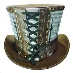 Steampunk madhatter Hand music print Top Hat with clock hand detail Chat Steampunk, Mode Steampunk, Style Steampunk, Steampunk Top Hat, Victorian Steampunk, Steampunk Costume, Steampunk Clothing, Steampunk Fashion, Gothic Fashion