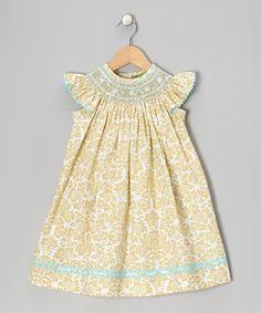 Khaki Damask Smocked Bishop Dress - Infant, Toddler & Girls | Daily deals for moms, babies and kids