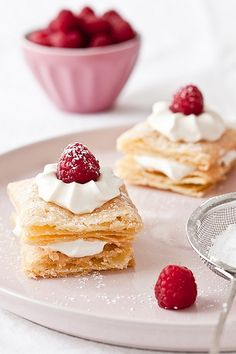 Gluten Free Mille Feuilles With Mascarpone Lemon Cream with GF recipe for puff pastry.  ☀CQ #GF #glutenfree    http://www.pinterest.com/CoronaQueen/gluten-free/