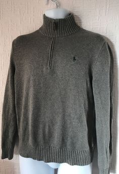 238385a8eb4 Mens Polo Ralph Lauren Graphite Grey Small Pony Knit Zip Neck Jumper  Casuals S  fashion