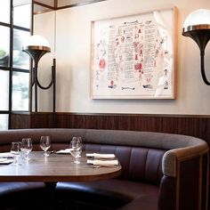 custom banquette and floor lamps with allen ginsberg print @loyalonbleecker for @chefjfraser - OH #HOMESTUDIOS #interiors