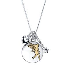 "This cute Disney necklace features three sterling silver charms: a heart, Tinkerbell's wand, and a disc that on one side shows a silhouette of Tinkerbell in yellow gold, and on the other side an inscription that reads, ""Dreams are forever."" The charms Disney Necklace, Disney Jewelry, Gold Pendant, Sterling Silver Pendants, Pendant Necklace, Silver Ring Designs, Silver Charms, Silver Rings, Silver Necklaces"