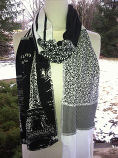 EIFFEL TOWER FRENCH WHITE GOLD BLUE SUMMER GIFT PRESENT PARISIAN PEARL SCARF
