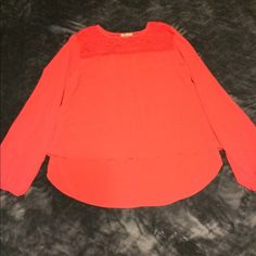 Coral chiffon top NWOT coral not orange, never used Lily Star Tops Blouses