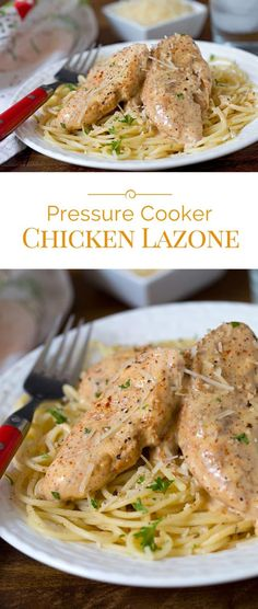 Pressure Cooker Chicken Lazone is seasoned chicken fried in butter, pressure cooked until tender, served over pasta in a decadent cream sauce.