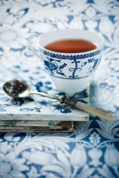 blue, white, vintage spoon, beautiful patterned china and a cup of tea...can anyone ask for much more?