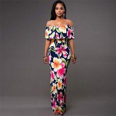 5e63c76c9d5 Off Shoulder Floral Boho Maxi Dress