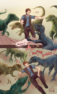 Raptor squad too cute ; Jurassic Park Raptor, Jurassic World Raptors, Blue Jurassic World, Jurassic World Fallen Kingdom, Chris Pratt Jurassic Park, Jurrassic Park, Michael Crichton, Falling Kingdoms, Dinosaur Art