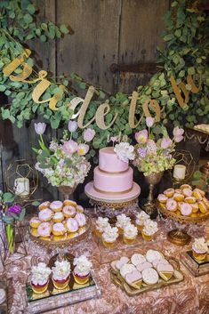 Rustic Elegance Blush Dessert Table Bridal/Wedding Shower Party Ideas | Cristin Kelly Design & Events | Cake Stands created & sold by Opulent Treasures ~ via Catch My Party