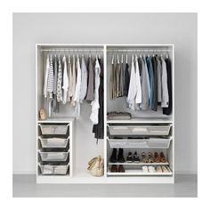 PAX Kleiderschrank, weiß, Grimo weiß 200x60x201 cm Scharnier, sanft schließend