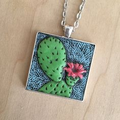 Hand-Tooled Leather Prickly Pear Cactus by JosieDybeDesigns